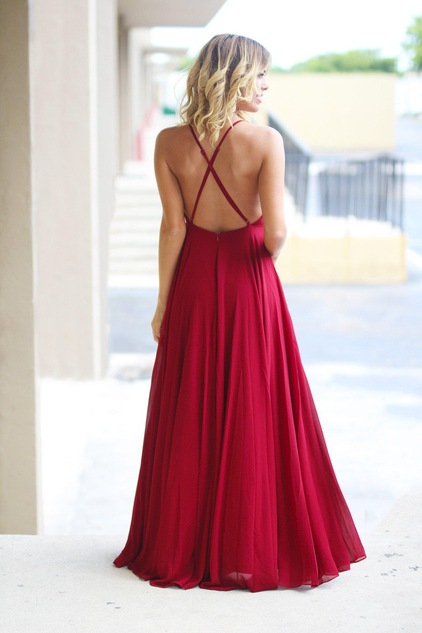 burgundy crisscross back maxi dress