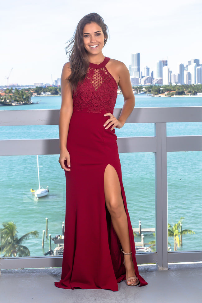 Burgundy Maxi Dress with Crochet Top and Side Slit