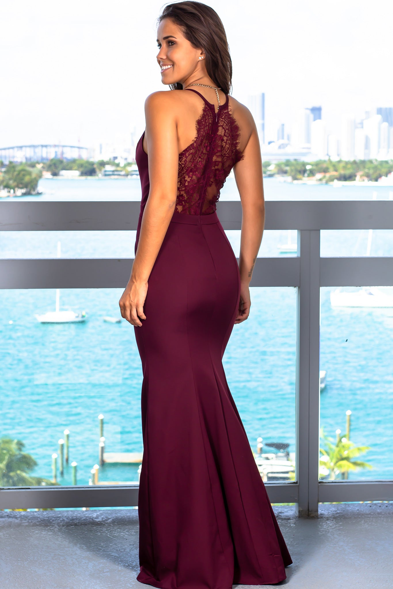a31bd495399 Burgundy Maxi Dress with Lace Back