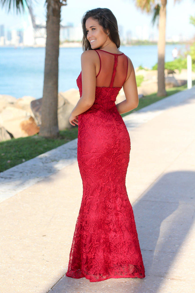 Burgundy Maxi Dress with Mesh Detail