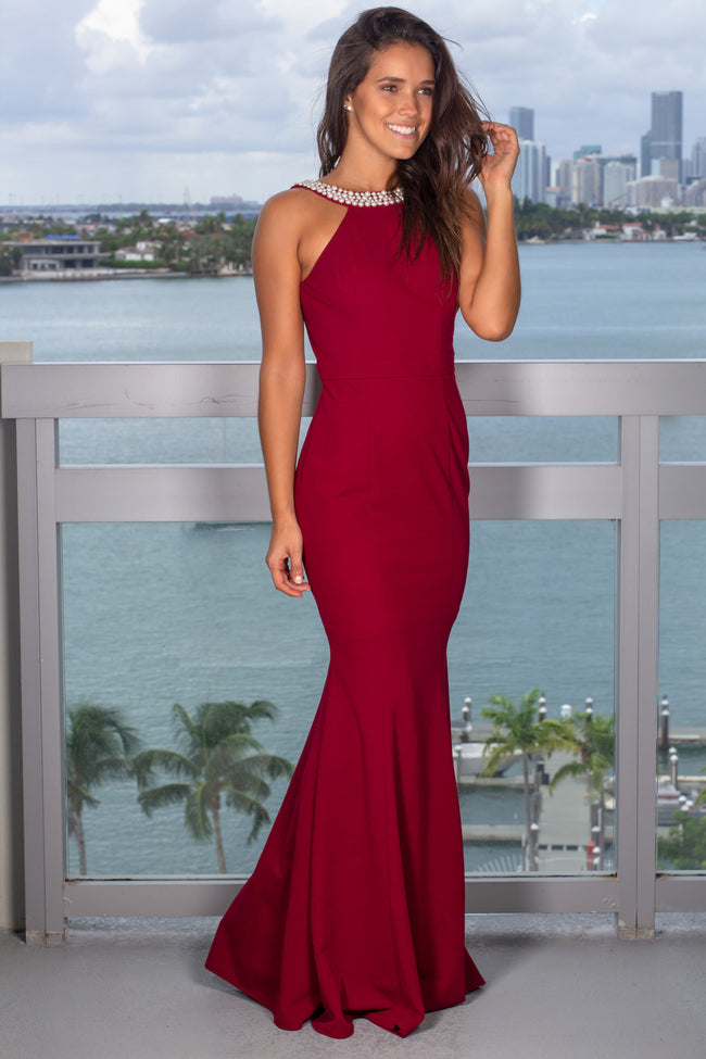 Burgundy Maxi Dress with Open Back and Pearl Detail