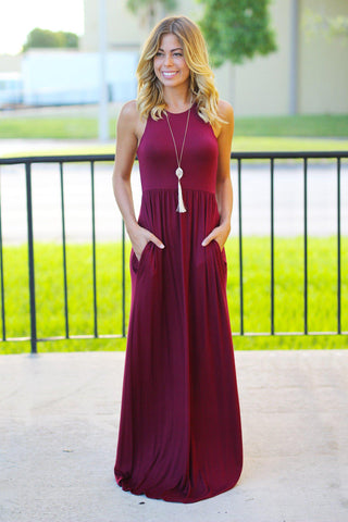 Burgundy Maxi Dress with Pockets