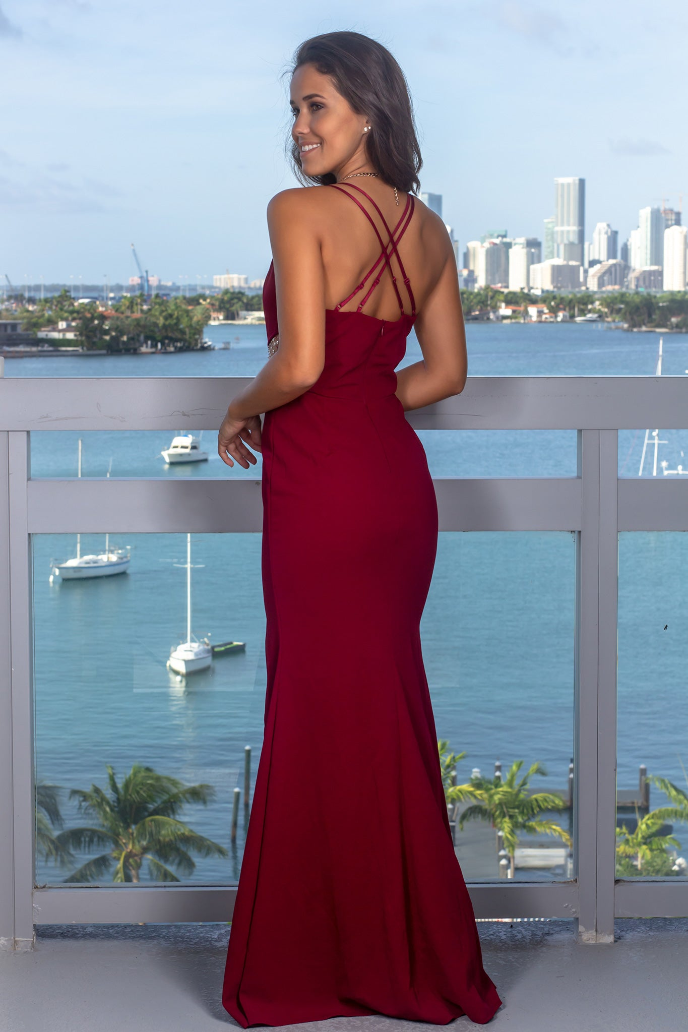 Burgundy Maxi Dress with Sequin Detail