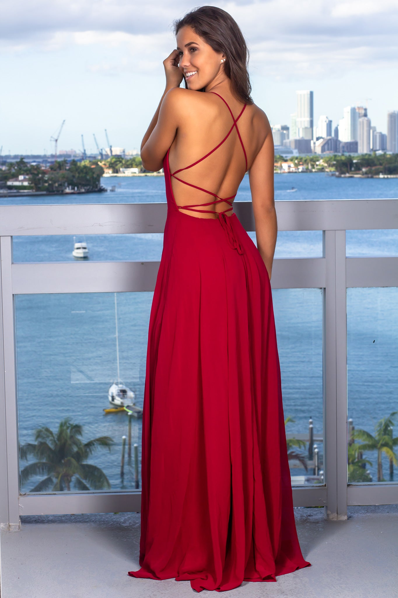 Burgundy Maxi Dress with Strappy Back