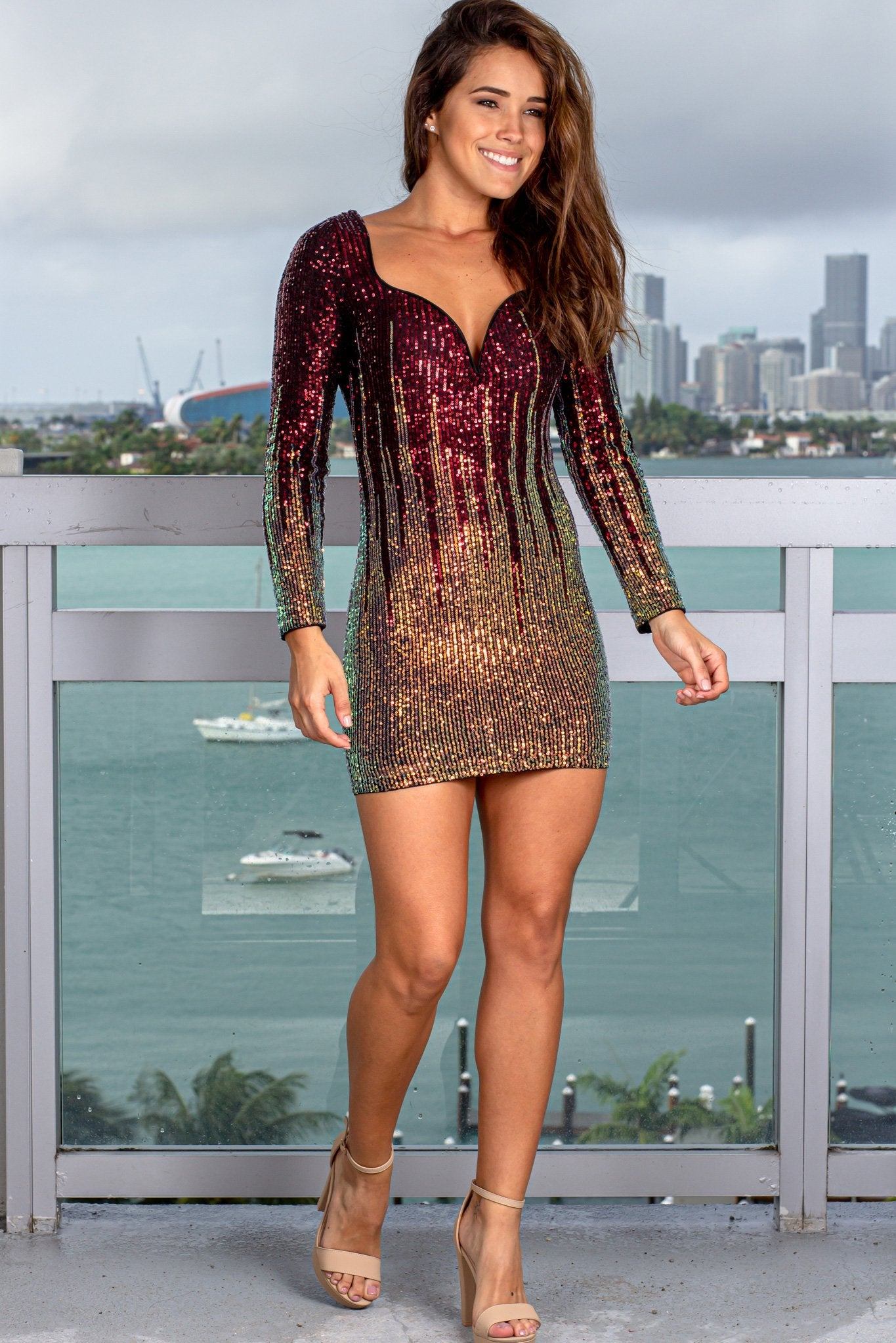 Burgundy Multi Colored Sequin Short Dress