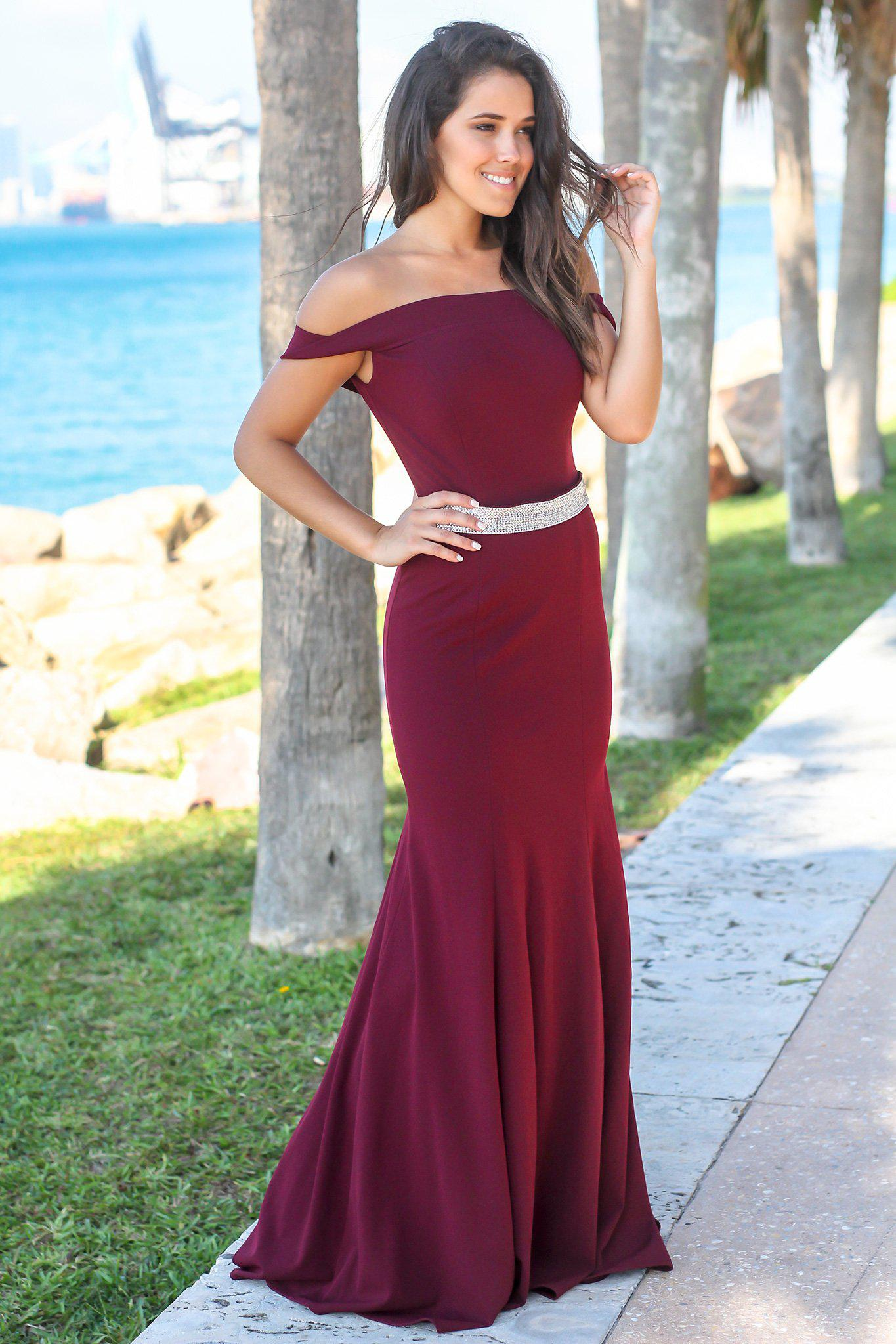 Burgundy Off Shoulder Maxi Dress with Jewel Detail