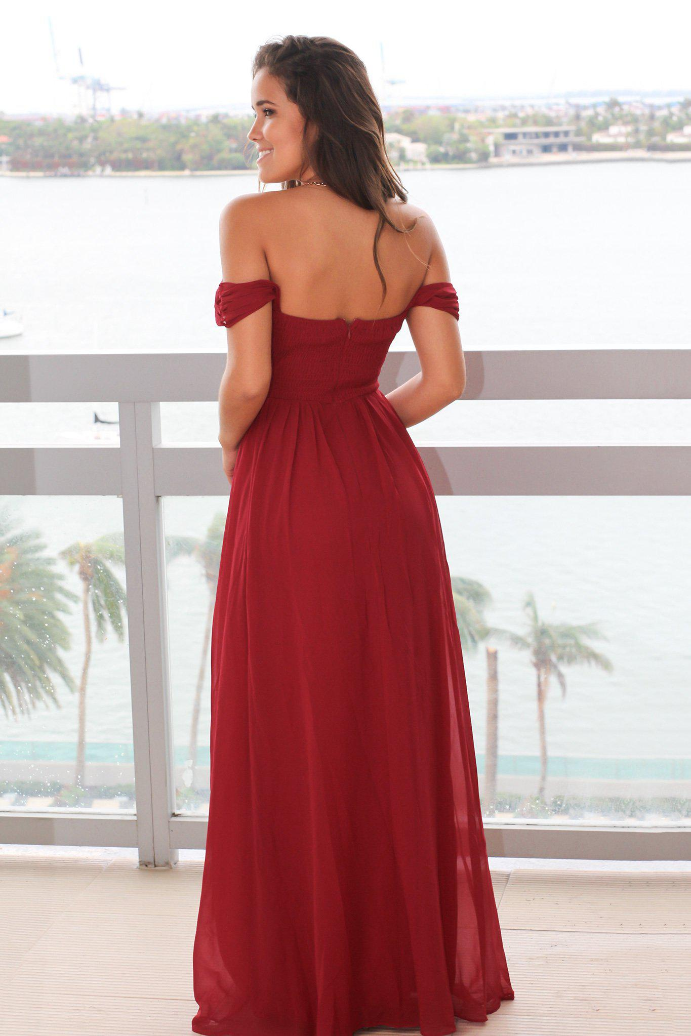 Burgundy Off Shoulder Maxi Dress with Pleated Top