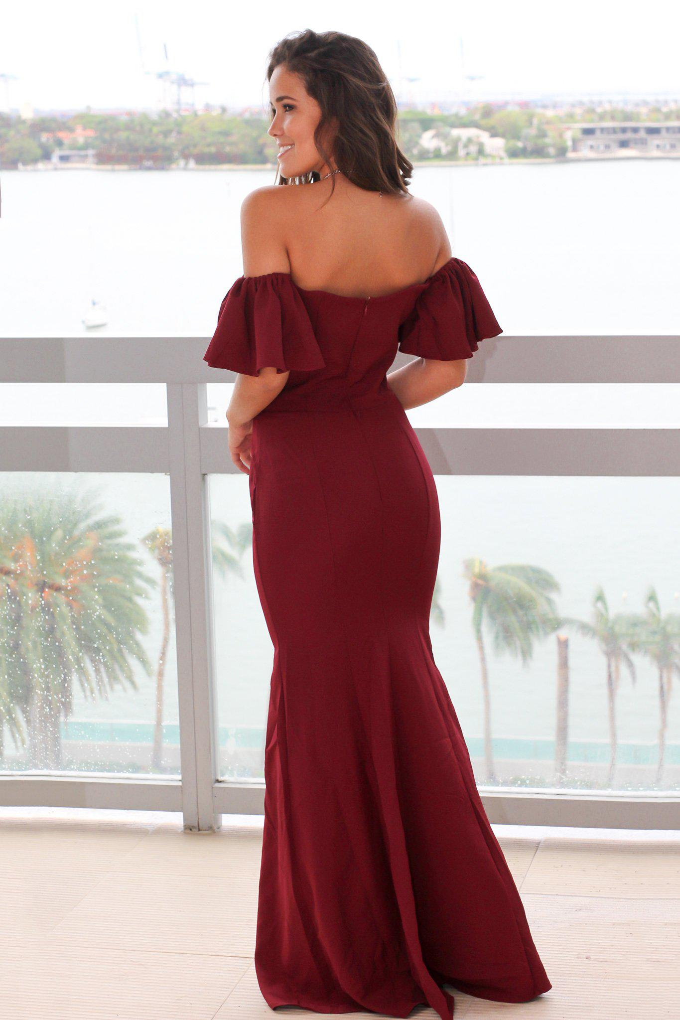 Burgundy Off Shoulder Maxi Dress with Ruffles