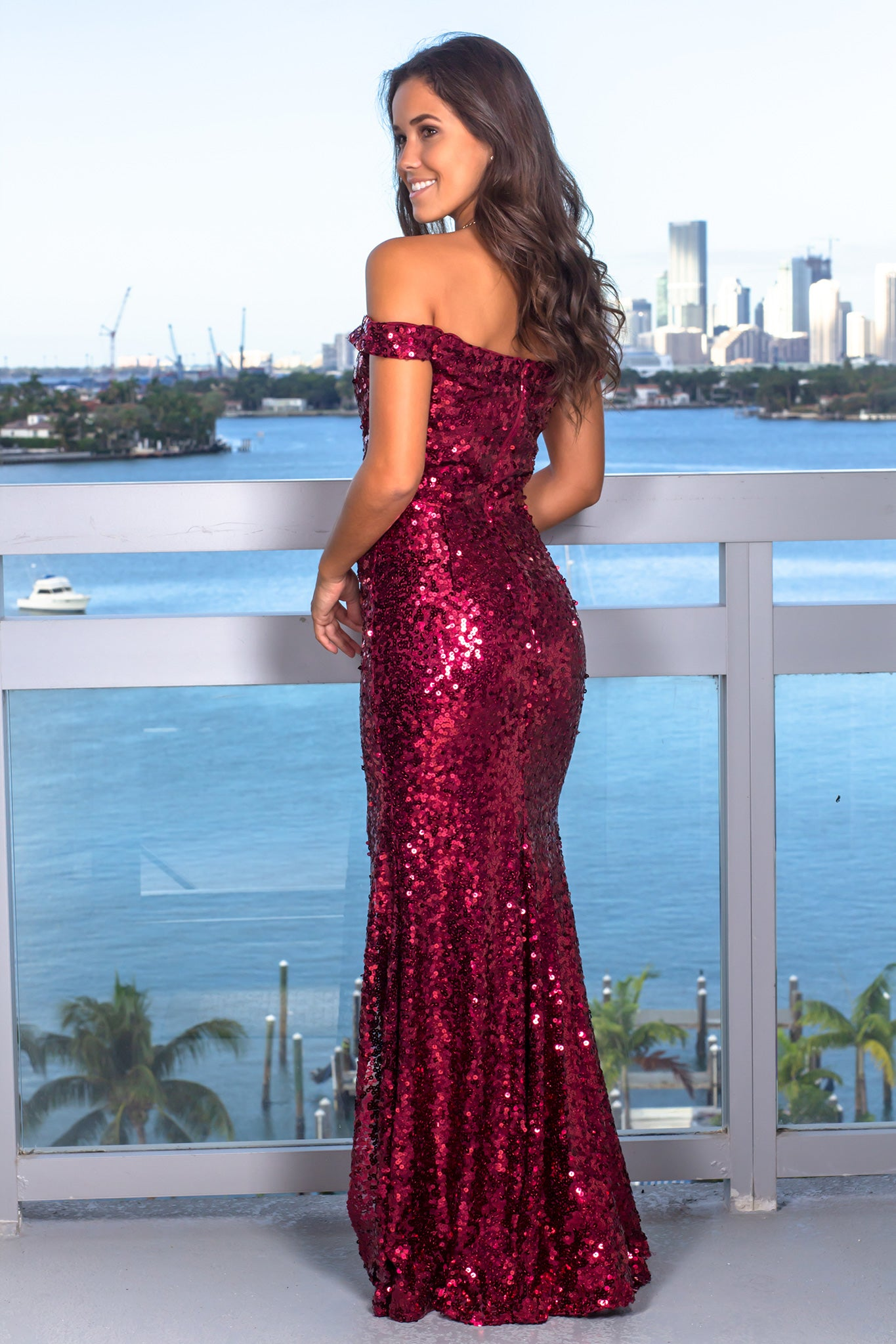Burgundy Off Shoulder Sequin Maxi Dress