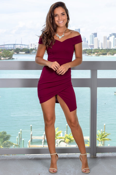 Burgundy Off Shoulder Short Dress with Ruched Side