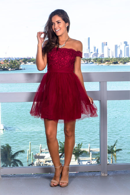 Burgundy Off Shoulder Tulle Short Dress