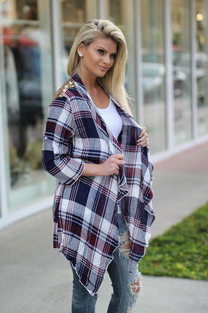 Burgundy Plaid Cardigan With Sequin Back
