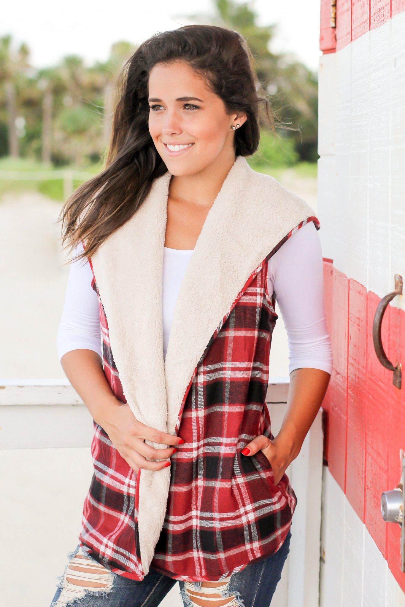 Burgundy Plaid and Fur Reversible Vest