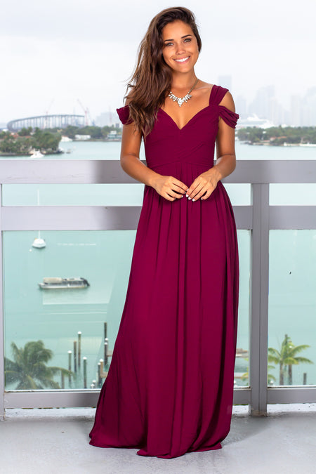 Burgundy Pleated Off Shoulder Maxi Dress