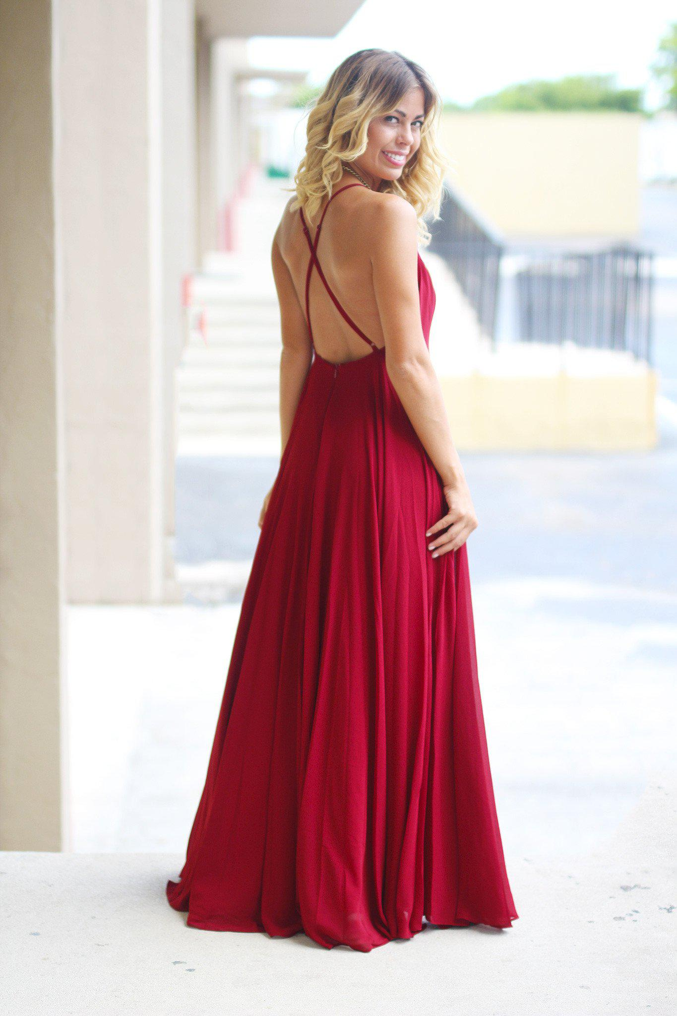 burgundy open back maxi dress