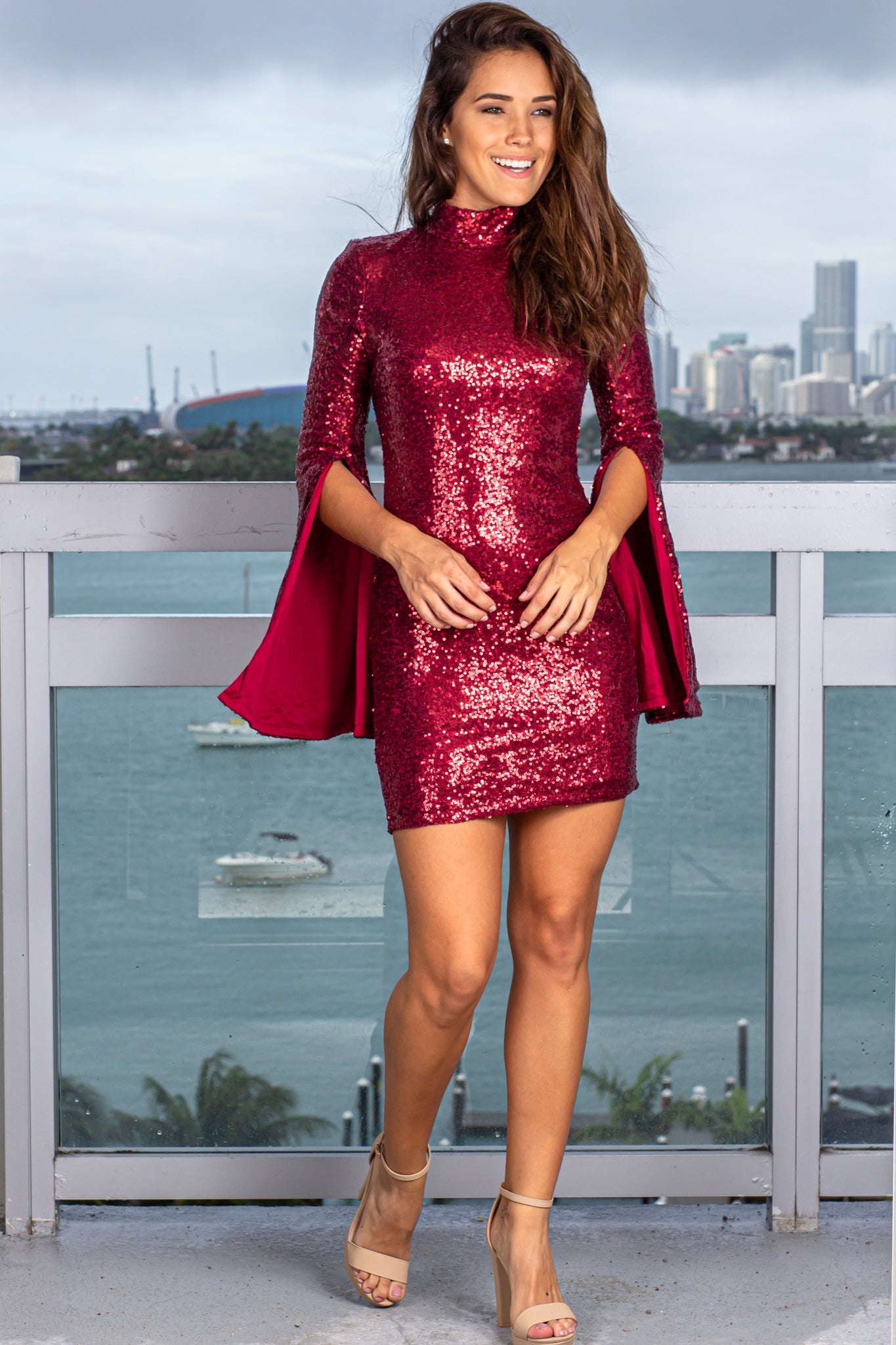 Burgundy Sequin Short Dress with Bell Sleeves