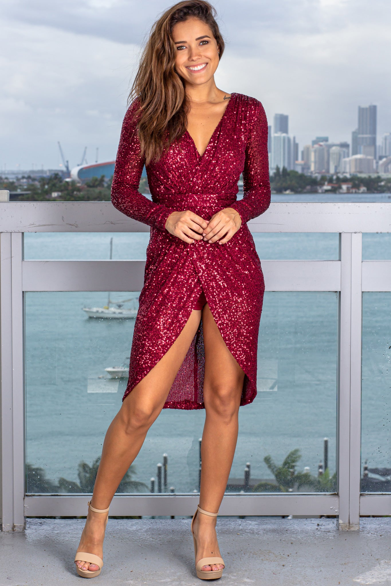 Burgundy Sequin Short Dress with Sleeves