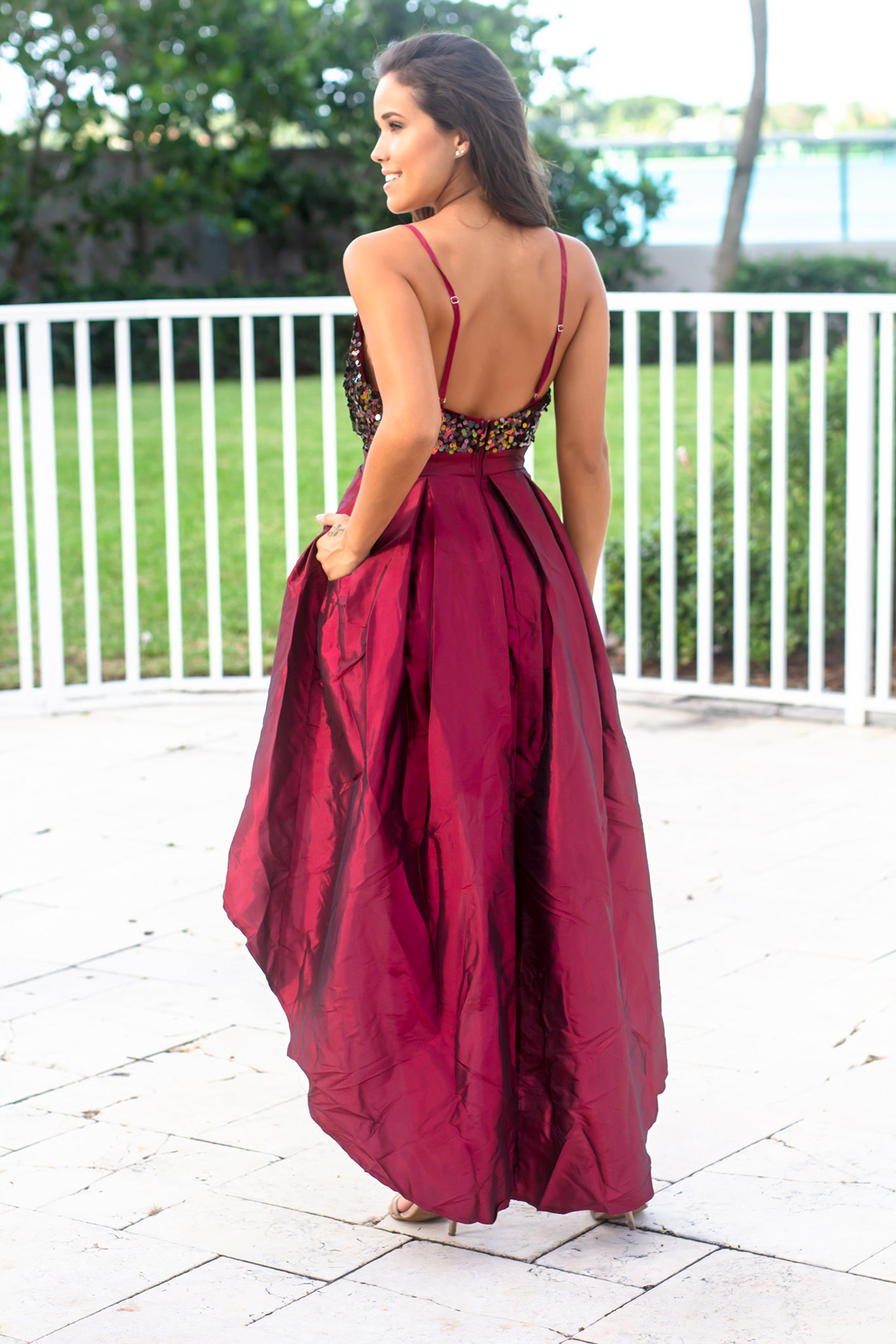 Burgundy Sequin Top High Low Dress