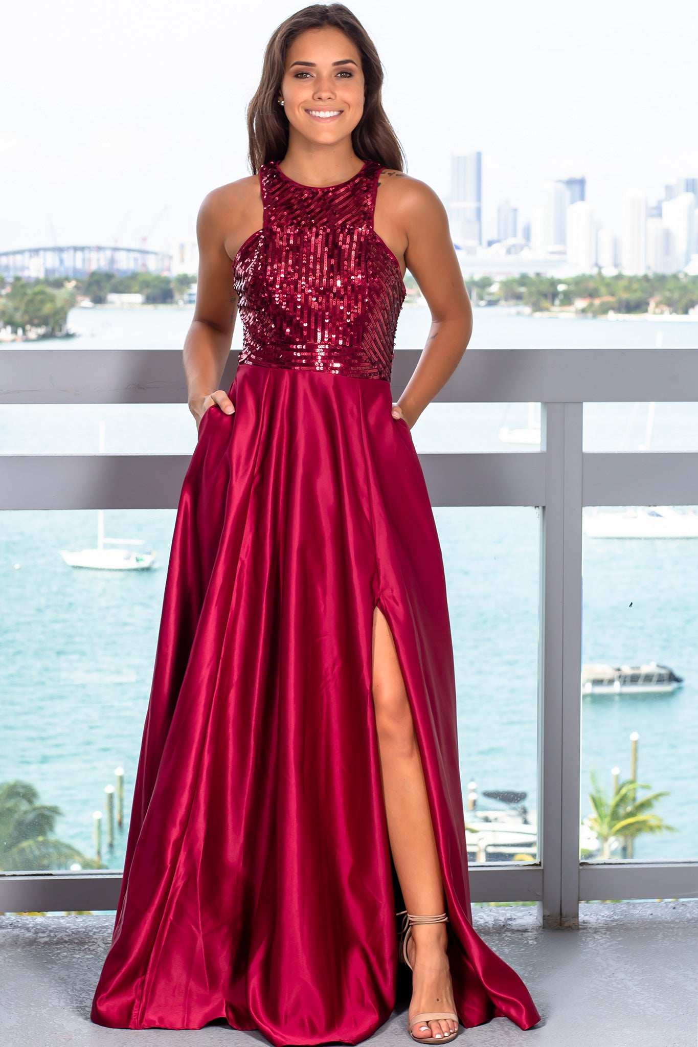 Burgundy Sequin Top Maxi Dress with Pockets