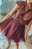 Burgundy Sequin Top Short Dress with Tulle Bottom