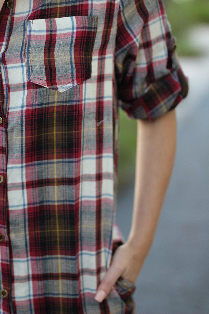 Burgundy Plaid Shirt Dress with Pockets