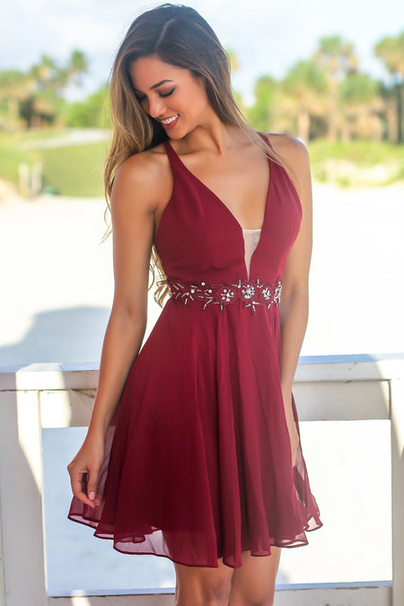 Burgundy Short Dress with Jewel Detail