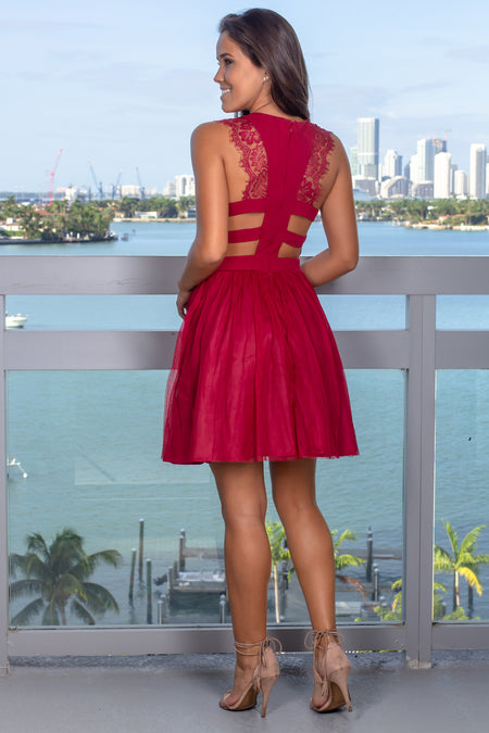 Burgundy Short Dress with Lace Detail