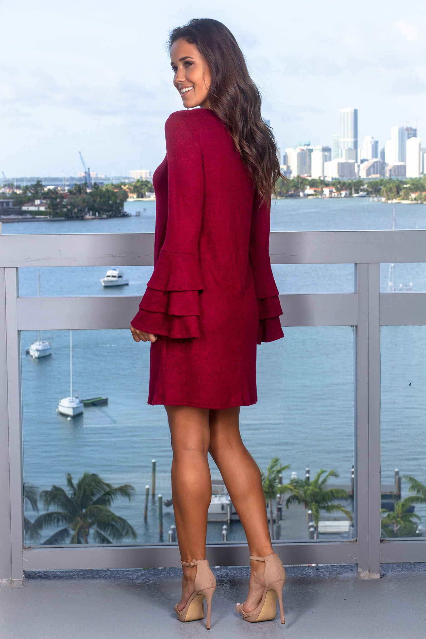 Burgundy Short Dress with Ruffle Bell Sleeves