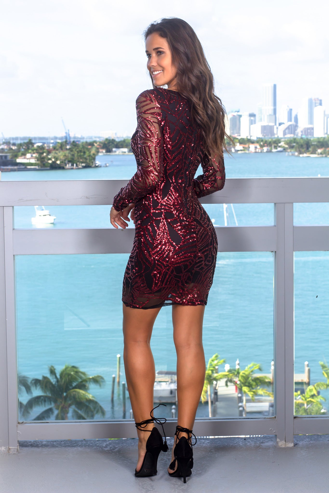 Burgundy Short Dress with Sequin Detail