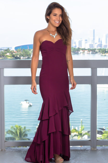 Burgundy Strapless Maxi Dress with Ruffled Hem
