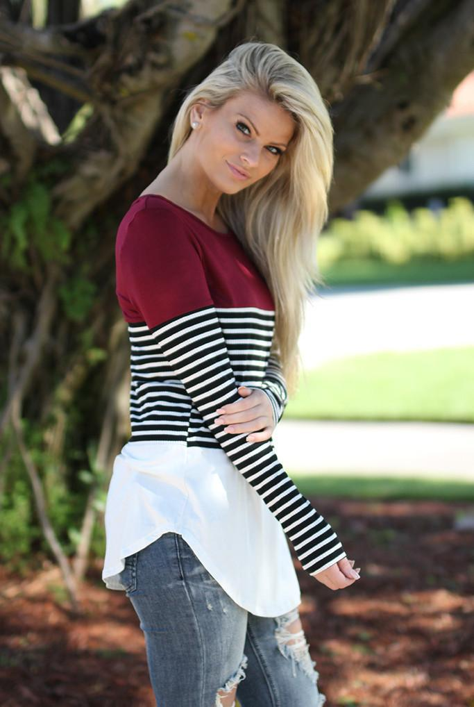 black and burgundy color block top