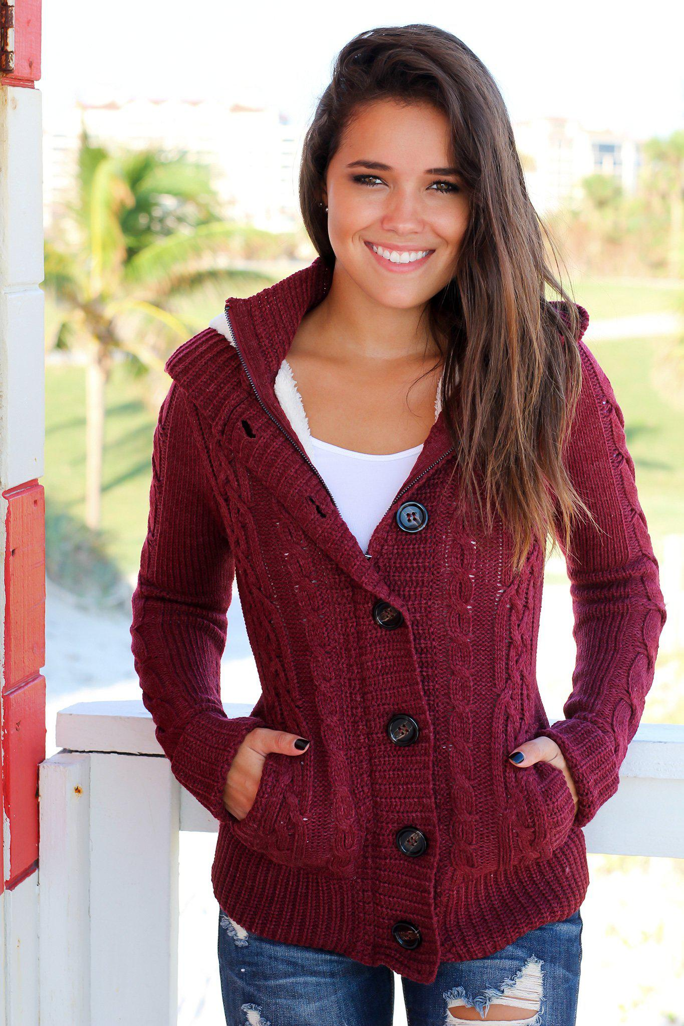 Burgundy Sweater With Fur Hood
