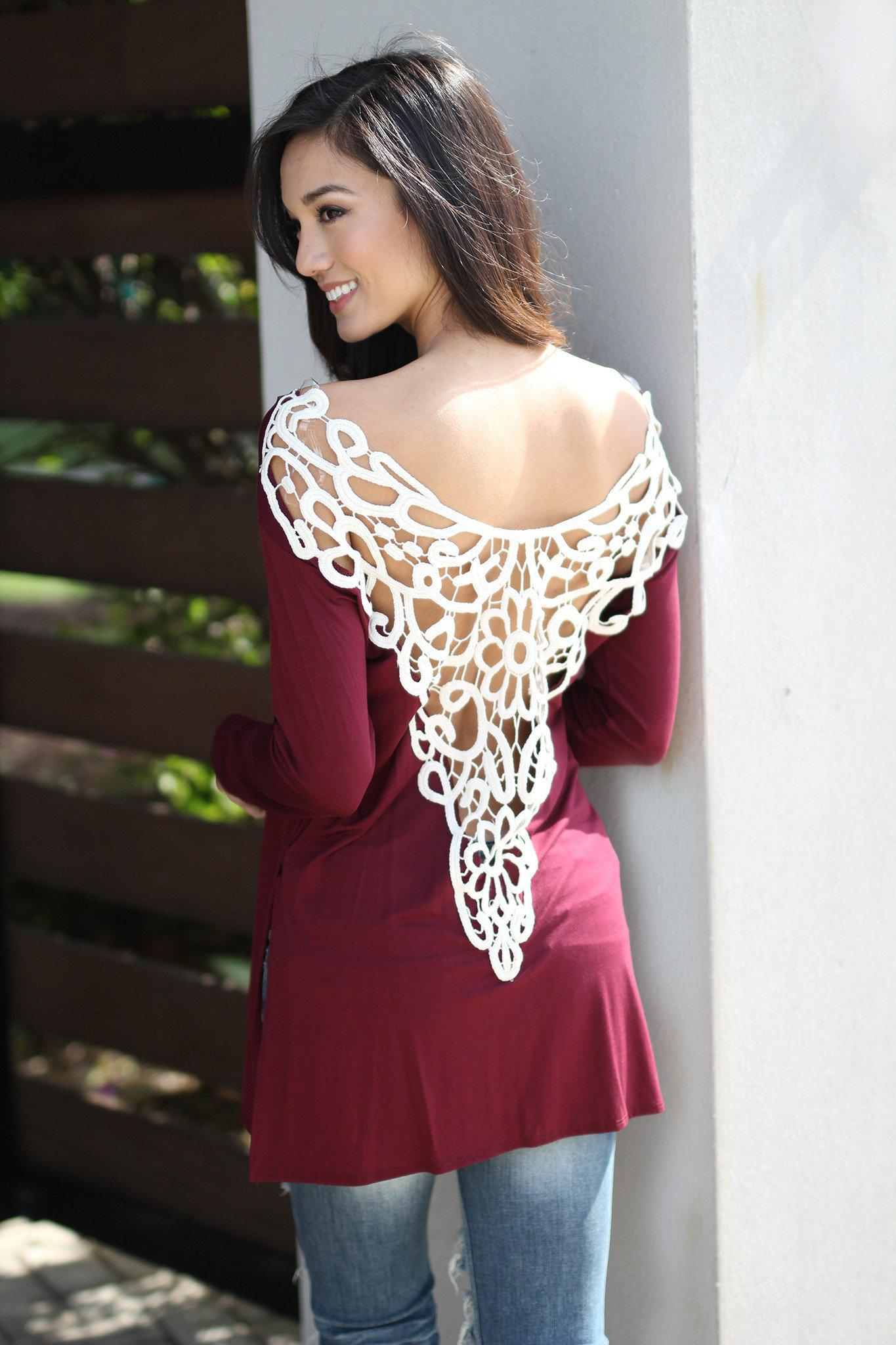 Burgundy Top With Crochet V-Back