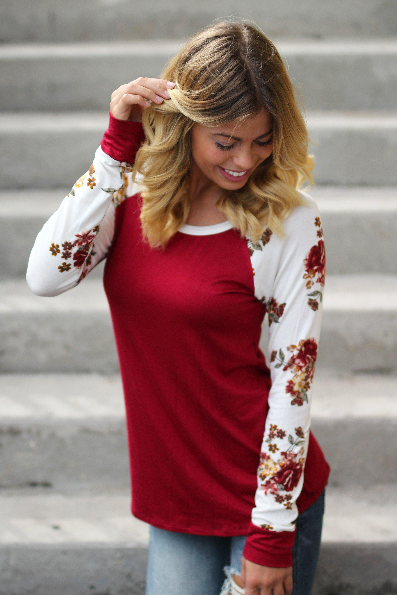 burgundy top with floral sleeves
