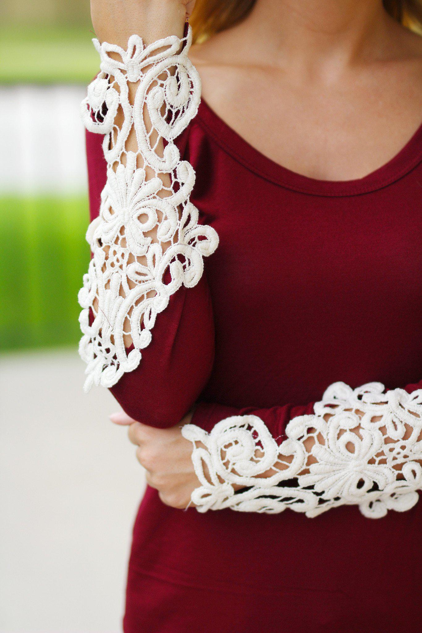 Burgundy Top With Crochet Sleeves
