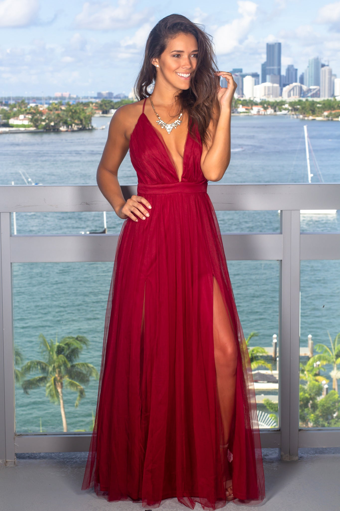 808caa01fc Burgundy Tulle Maxi Dress with Criss Cross Back | Maxi Dresses – Saved by  the Dress