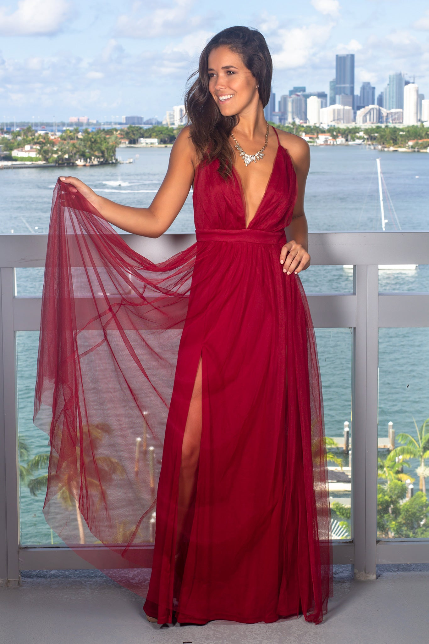 Burgundy Tulle Maxi Dress with Criss Cross Back