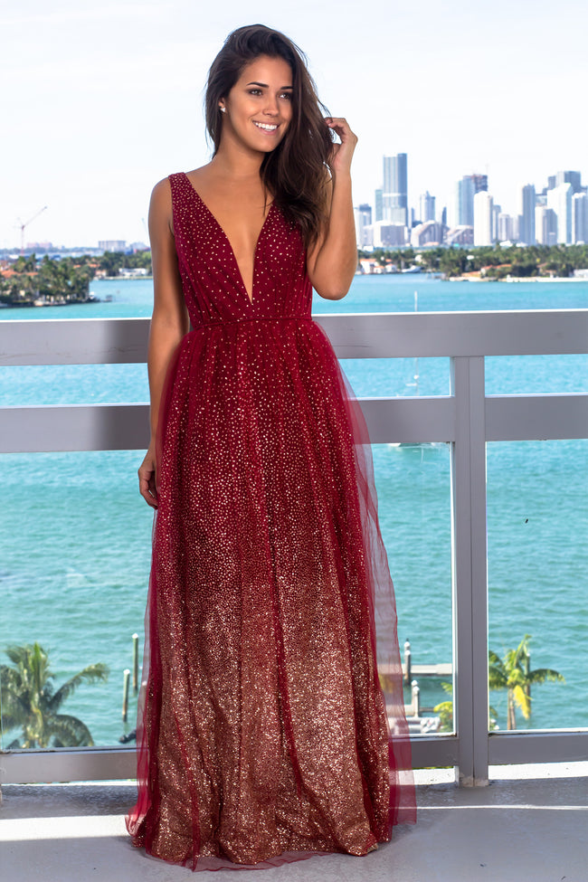 Burgundy Tulle Maxi Dress with Glitter Detail