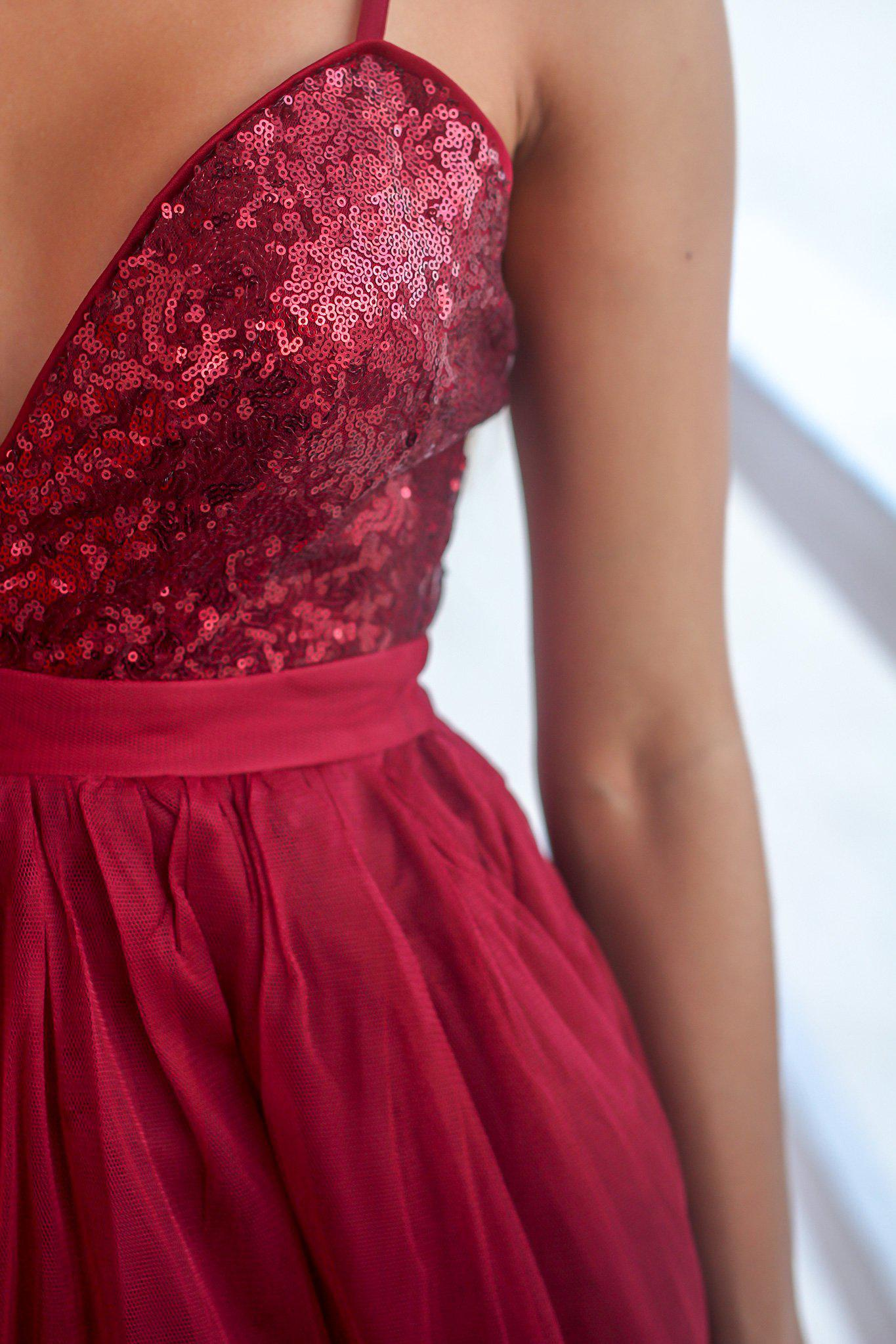 Burgundy Tulle Short Dress with Sequin Top