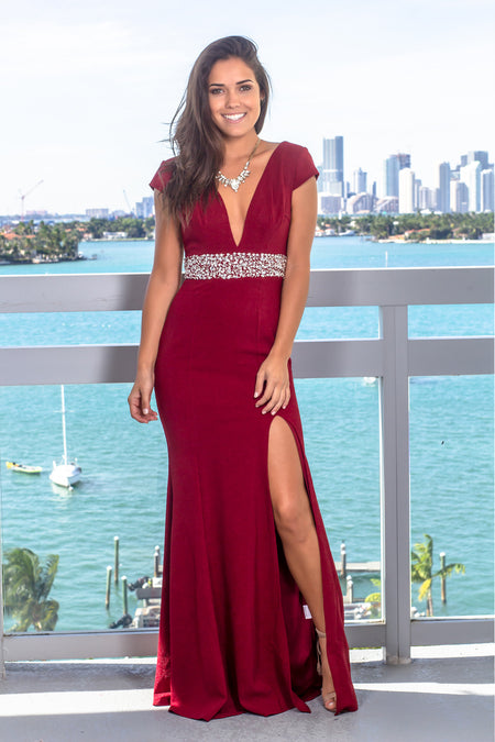 Burgundy V-Neck Maxi Dress with Jewel Detail