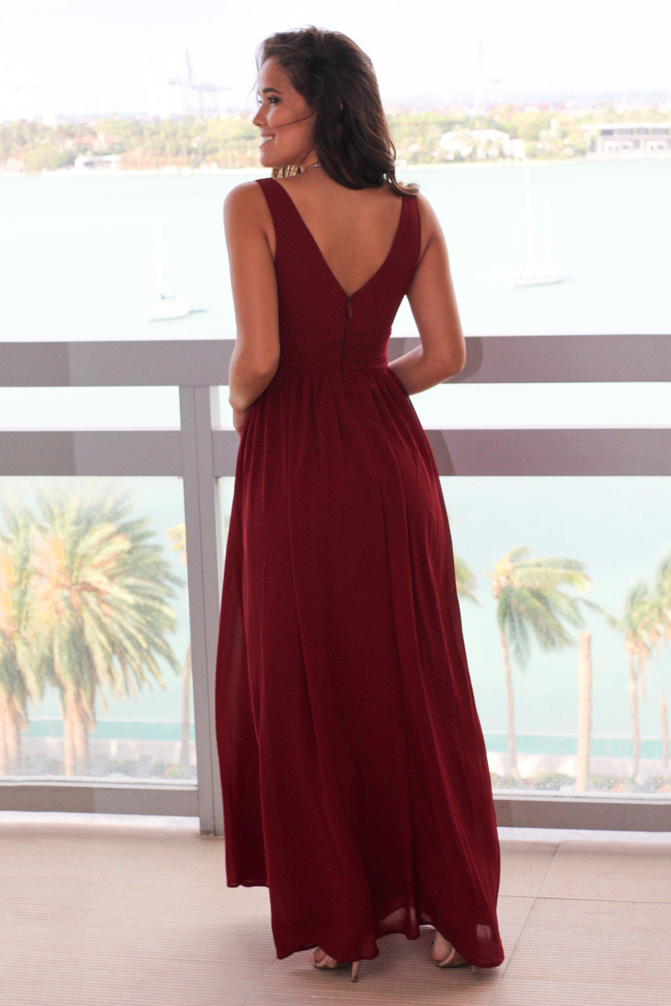 Burgundy V-Neck Maxi Dress with Pleated Top