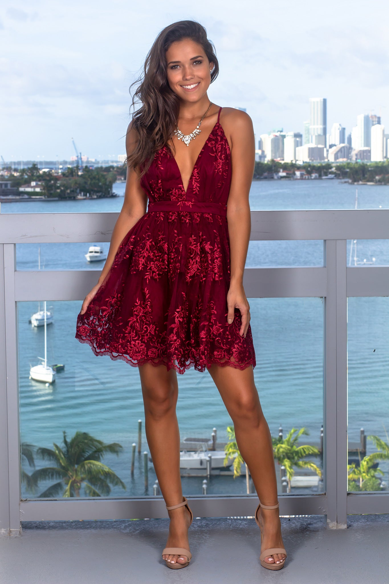 Burgundy V-Neck Short Dress