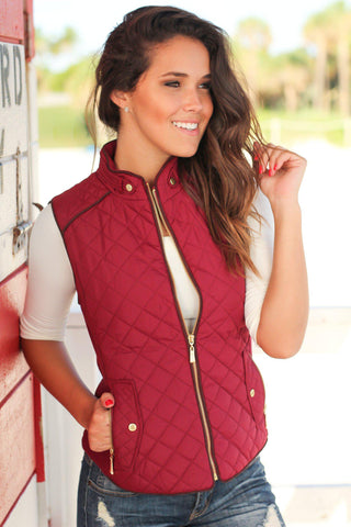Burgundy Quilted Vest With Pockets
