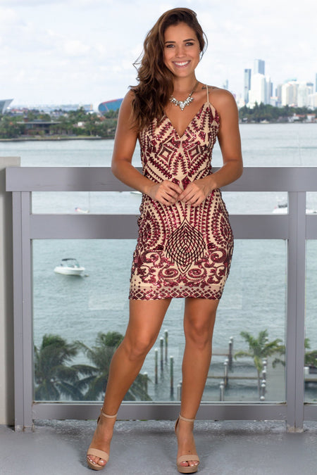 Burgundy and Beige Sequin Short Dress with Criss Cross Back