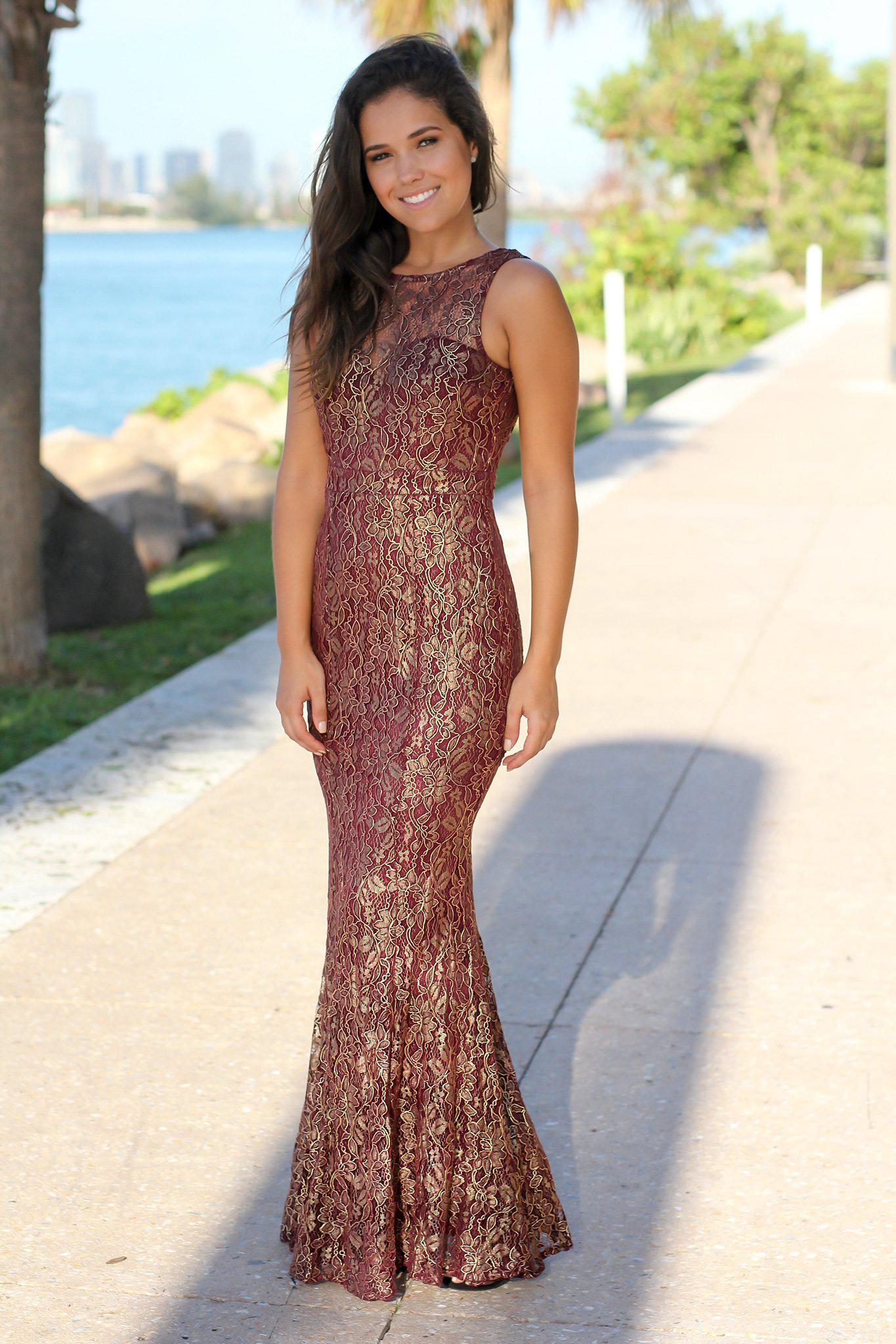 Burgundy and Gold Lace Maxi Dress with Open Back