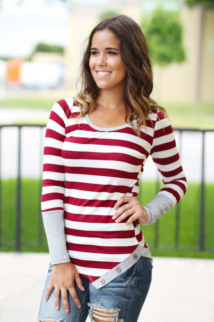 Burgundy and Gray Top With Buttons
