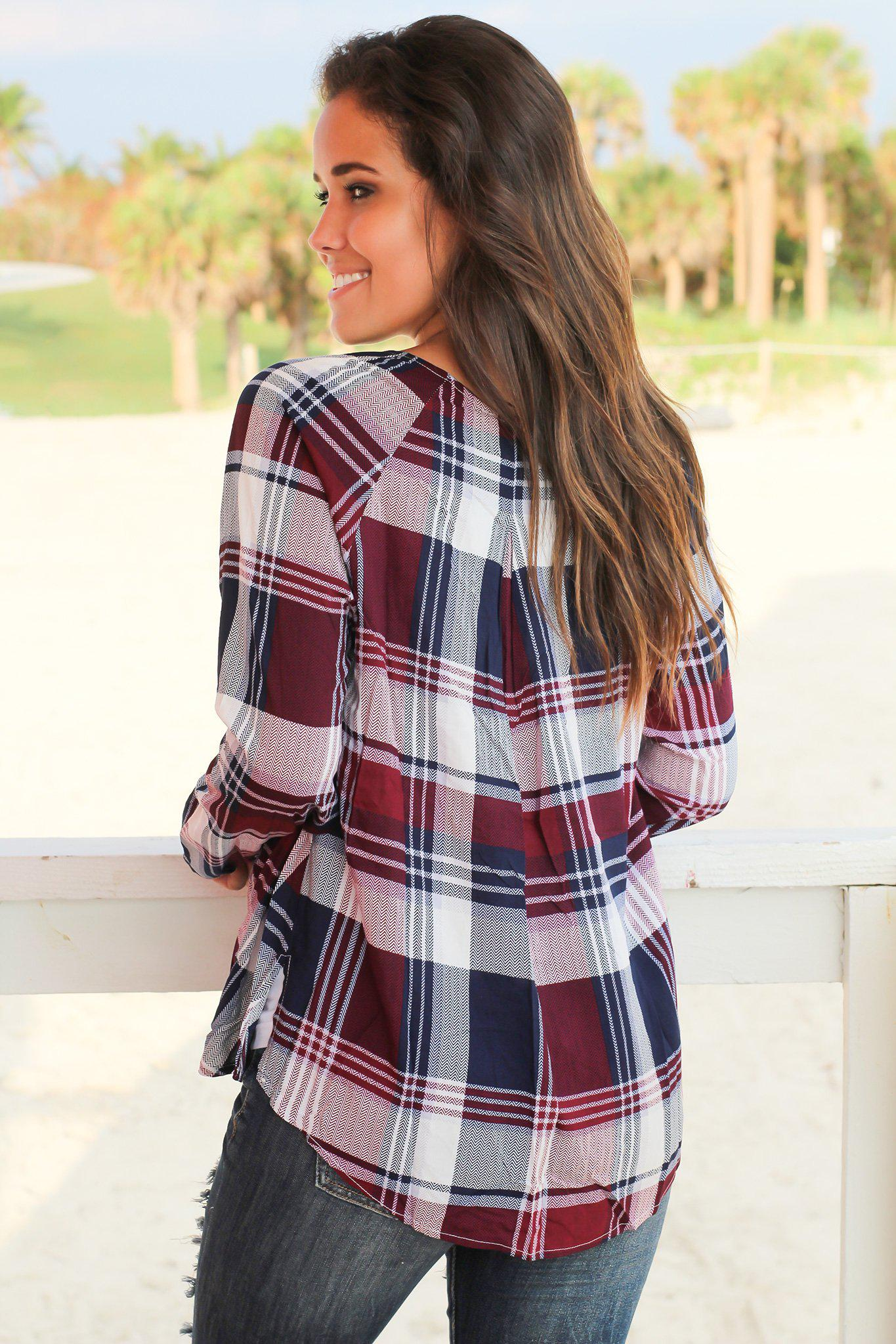 Burgundy and Navy Plaid Criss Cross Draped Top