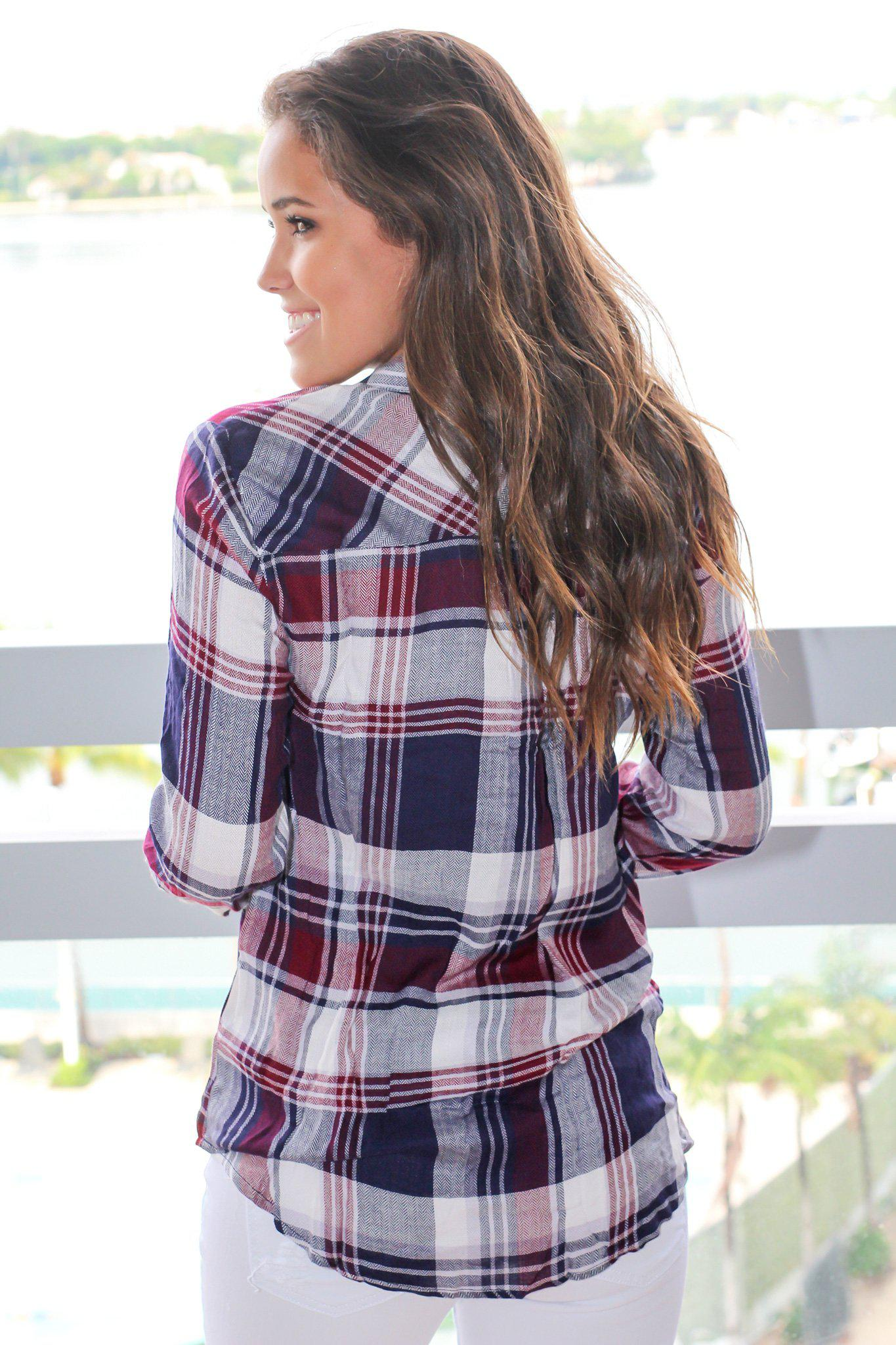 Burgundy and Navy Plaid Top with Lace Detail