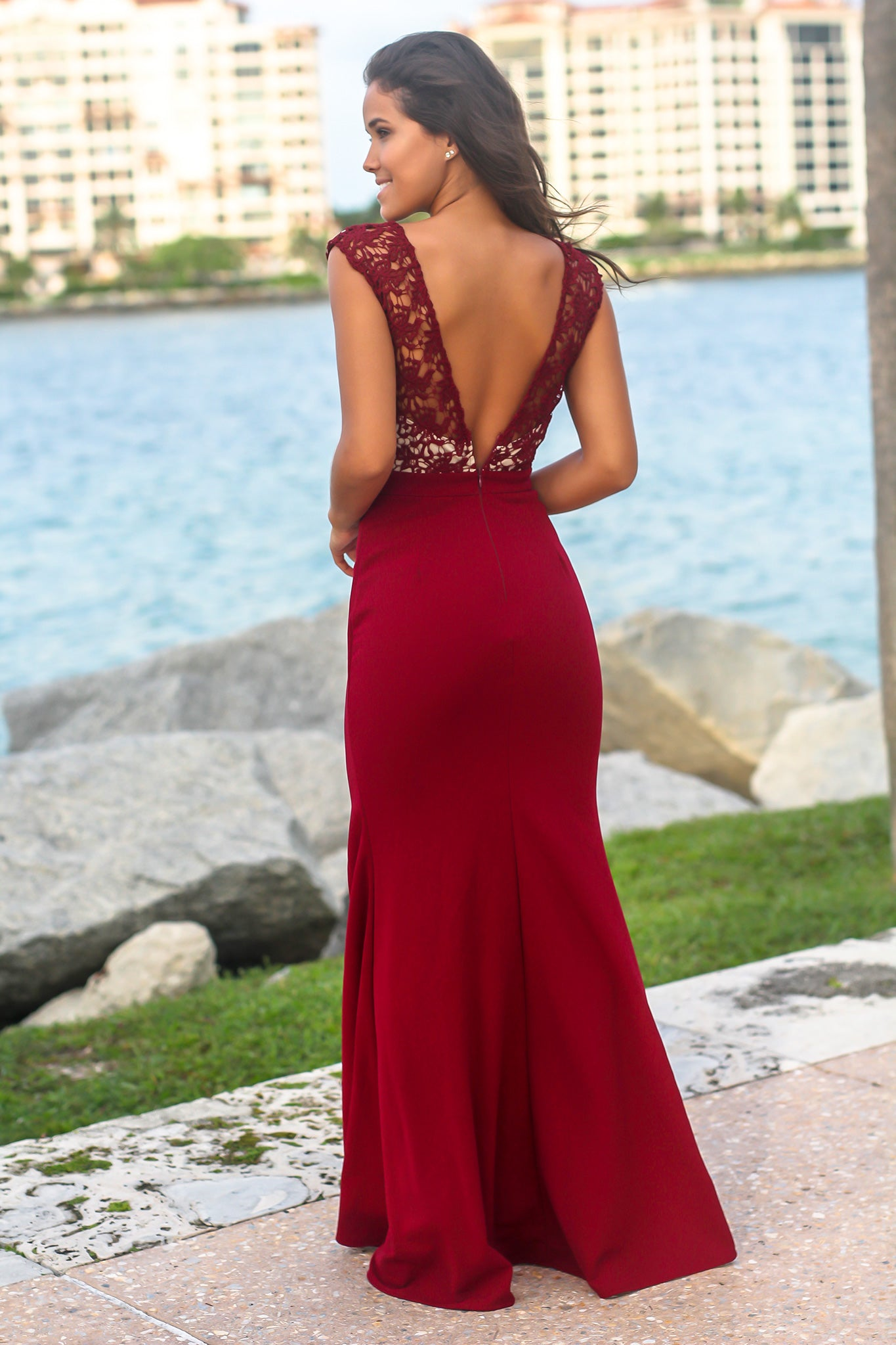 Burgundy and Nude Crochet Maxi Dress