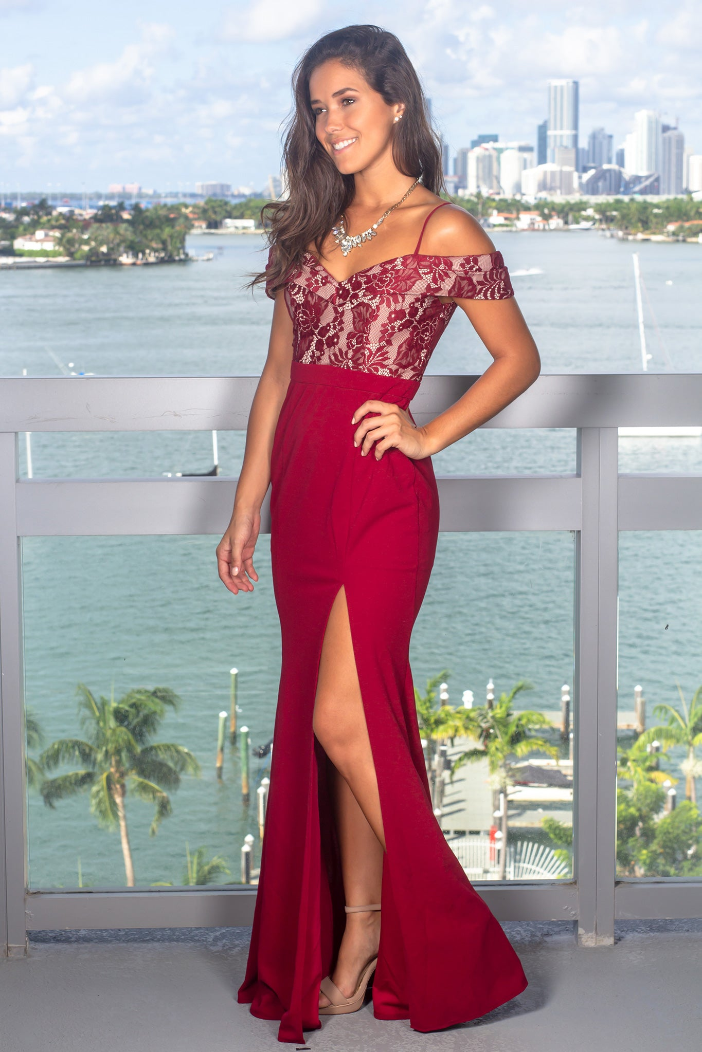 Burgundy and Nude Off Shoulder Maxi Dress with Lace Top